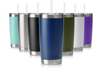 (1 Pack, Navy Blue) - Civago 590ml Tumbler with Lid and Straw, Stainless Steel Vacuum Insulated Coffee Tumbler Cup, Double Wall Powder Coated Travel Mug (Navy Blue, 1 Pack)