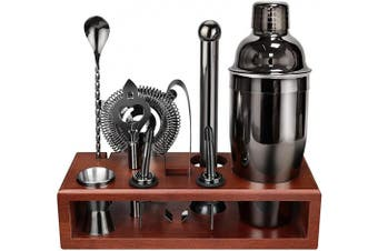 (Black) - Cocktail Shaker Set Bartender Kit with Stand Black 710ml for Tequila Whiskey, Bar Kit Drink Mixer Shaker Set Including Martini Shaker, Mojito Muddler, Jigger, Mixing Spoon, Hawthorne strainer