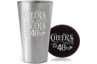 "(470ml pint, Silver - Cheers 40) - BadBananas Beer Glass with Coaster - Perfect Gift for 40th Birthday or Fortieth Year Anniversary - Glass Pint with Electroplated Metallic Silver Coating -""Cheers & Beers to 40 Years"" - 470ml Volume"