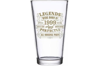 (470ml pint, Legends - 1999) - BadBananas - 21st Birthday Gifts For Men or Women - Legends Were Born In 1999-470ml Beer Pint Glass - Birthday Gifts For 21 Year Old