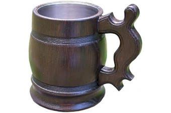 (20 OZ NEW) - Handmade Beer Mug Wooden Tankard Wood Beer Stein (590ml NEW) Old-Fashioned Brown Wood Carving Beer Mug