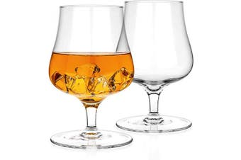 (2) - Luxbe - Brandy Whiskey Crystal Glasses Snifter, Set of 2 - Handcrafted - Lead-Free Crystal Glass - For Cognac Bourbon Spirits Drinks - 280ml
