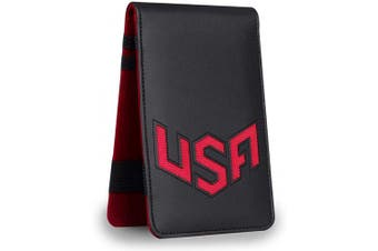 (Red) - Big Teeth Golf Scorecard Holder Yardage Book Cover USA Pattern Golf Accessories Leather Fit for Most Back Pocket