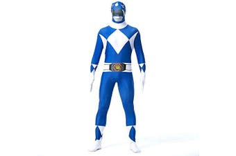 (Children: XS, Blue) - N/A Power Rangers Mighty Morphin Costume - Zentai For Men, Women, Children, Unisex - Fancy Dress Outfit Christmas Halloween