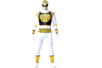 (Children: XS, White) - N/A Power Rangers Mighty Morphin Costume - Zentai For Men, Women, Children, Unisex - Fancy Dress Outfit Christmas Halloween