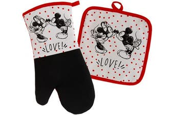 (Oven Mitt & Potholder Set, White/Red - Minnie & Mickey Kissing) - Disney Kitchen Neoprene Oven Mitt and Potholder Set with Hanging Loop -Non-Slip Heat Resistant Kitchen Accessories with Premium Insulation Ideal for Handling Hot Kitchenware-Mickey and