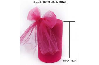 (Fuchsia) - Tulle Fabric Rolls 15cm by 100 Yards (90m) Tulle Spool for Wedding Party Decorations Gift Bow Craft Tutu Skirt (Fuchsia)