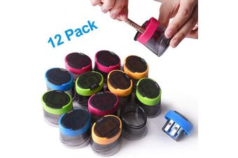 (Manual Sharpener 2-12Pcs) - Pencil Sharpener, 12pcs Double Hole Manual Sharpener for Pencils, Coloured Hand Pencil Sharpener with Rust-proof Spiral Blade for Kids School Office Home Supply