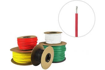 (9.1m (Spooled), Red) - 10 AWG Marine Wire - Tinned Copper Primary Boat Cable - Available in Black, Red, Yellow, Green, and White