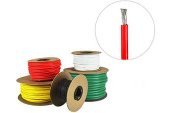 (3m (Coiled), Red) - 8 AWG Marine Wire - Tinned Copper Boat Battery Cable - Available in Black, Red, Yellow, Green, and White - Made in The USA