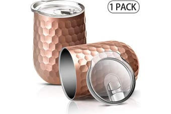 (Rose Gold) - Vacuum Insulated Wine Tumbler with Sliding Lid - Stainless Steel Wine Glass Tumbler Coffee Mug 350ml, Spill Proof, Travel Friendly for Champagne, Cocktail, Beer and More, 1 Pack