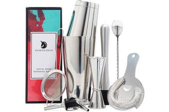 (9-Piece Set, Silver) - 9 Piece Cocktail Shaker Set, 304 Stainless Steel Bartender Kit - 530ml & 830ml Weighted Shaker Tins, Cocktail Strainer Set, Measuring Jigger, Muddler, Bar Spoon & Liqour Pourers