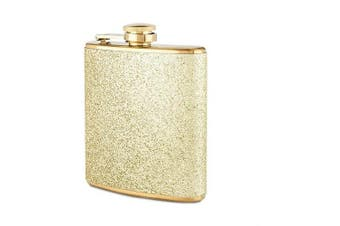 (Gold) - Blush Sparkletini Stainless Steel Glitter Flask, Gifts for Women, 180ml, Gold