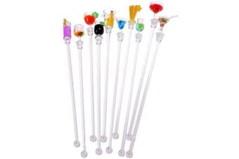 (10 pcs) - Yahpetes Swizzle Sticks 10 Pcs Colourful Beverage Stirrers 23cm Drink Stirrer Acrylic Cocktail Stirrer Clear Shafts Cocktail Drink Stirrers for Bars Cafes Restaurants Home Use (10 pcs)