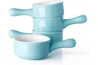 (Turquoise) - Sweese 109.102 Porcelain Onion Soup Bowls with Handles - 440ml for Soup, Cereal, Stew, Chill, Set of 4, Turquoise