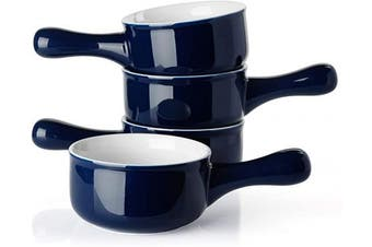 (Navy) - Sweese 109.103 Porcelain Onion Soup Bowls with Handles - 440ml for Soup, Cereal, Stew, Chill, Set of 4, Navy