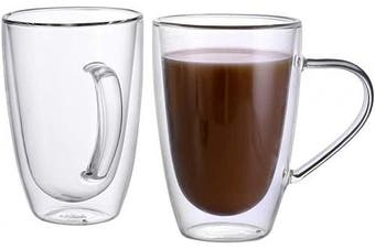 (MUGS 10.8OZ/320ML) - CnGlass Clear Glass Mugs (10.8 oz 320ML) Double Wall Glasses Mug with Handle,Set of 2 Insulated Espresso Mug Cups for Latte,Cappuccino,Tea