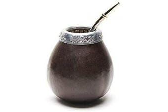 (Dark Brown) - Balibetov [New] Handmade Natural Mate Gourd Set (Original Mate Cup) Including Bombilla (Yerba Mate Straw) (Dark Brown)