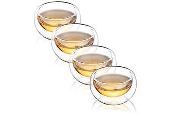 CnGlass Double Wall Glass Tea Cup Set of 4(3.4oz 100ML)Asian Insulated Teacups,Clear Espresso Cup for Tea or Coffee