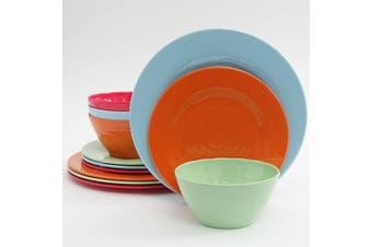 (Assorted Colors) - Gibson Home Brist 12 Piece Melamine Dinnerware Set, Assorted Colours