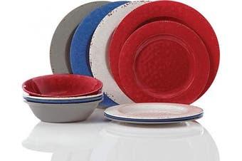 (Red, White, Blue, Grey) - Gibson Brist Pastels 12 pc Dinnerware Set - Melamine, Red, White, Blue, Grey - 116845.12