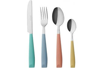 (Mixed Color) - EXZACT 24PCS Flatware Set Coloured - Stainless Steel With Plastic Wide Handles – Comfortable to Hold - 6 x Forks, 6 x Dinner Knives, 6 x Dinner Spoons, 6 x Teaspoons - Service for 6 (WF232W MixedColor)