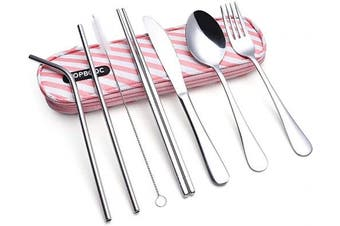 (Pink Bag) - Travel Utensils,Reusable Silverware Set To Go Portable Cutlery Set with a Waterproof Carrying Case for Lunch Boxes Workplace Camping School Picnic (Pink Bag)