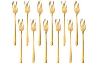 (20cm  Dessert Forks, Gold) - Dessert Fork Slim Handle Dinner Forks Set of 12, BUY & USE 20cm Stainless Steel Gold Dinnerware