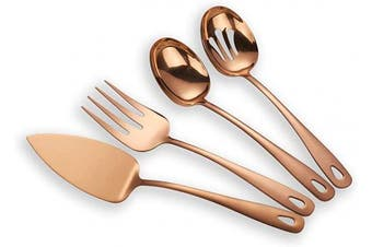 (Rose Gold) - Berglander Stainless Steel Rose Gold Titanium Plated Flatware Serving Set 4 Pieces, Cake Server Cold Meat Fork Pierced Serving Spoon Serving Spoon, Copper Silverware Set (shiny, copper)