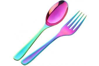 (Rainbow Spoon Fork Set) - Bisda 2-Piece Stainless Steel 18 10 Serving Spoon Fork Set (Rainbow Spoon Fork Set)