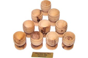 (10) - Holy Land Market Olive Wood Small Chalice or Goblet/Wine or Communion Church Cup (10)