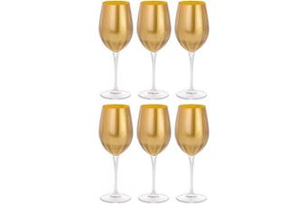 Goblet - Red Wine Glass - Water Glass - Glass is Decorated in Gold - Stemmed Glasses - Set of 6 Goblets - Lead Free Crystal - 530ml - by Barski - Made in Europe