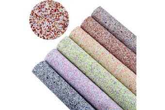 (Pattern D,6 Colours) - AOUXSEEM Chunky Glitter Sequin Fabric Sheets for Bows【A4 Size】Gorgeous PU Faux Leather Synthetic Craft Fabric for DIY Earrings,Thick Canvas Back,21 cm x 30 cm (Pattern D,6 Colours)