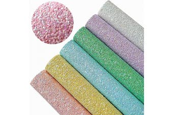 (Pattern A,6 Colours) - AOUXSEEM Chunky Glitter Sequin Fabric Sheets for Bows【A4 Size】Gorgeous PU Faux Leather Synthetic Craft Fabric for DIY Earrings,Thick Canvas Back,21 cm x 30 cm (Pattern A,6 Colours)