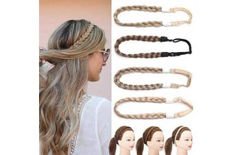 (0.6 Inch, Ash Brown) - Hair Braided Hair Extensions Headband Classic Chunky Wide Plaited Braids Elastic Stretch Hairpiece Women Girl Beauty Accessory Width 1.5cm - Ash Brown