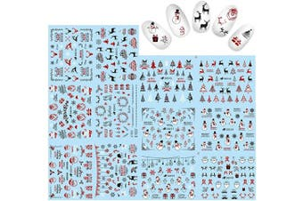 (Christmas2081) - Alexnailart Nail Stickers Set 3D Laser red Decals Christmas Nail Art Accessories Manicure Decorations Tool(Christmas2081)