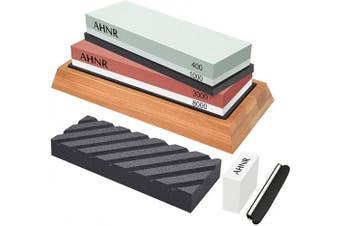 (Multicolor) - Knife Sharpening Stone Set - 4 Side Grit 400/1000 and 3000/8000 Water Stone, AHNR Premium Whetstone Sharpener Stone Kit Includes NonSlip Bamboo Base, Flattening Stone & Angle Guide