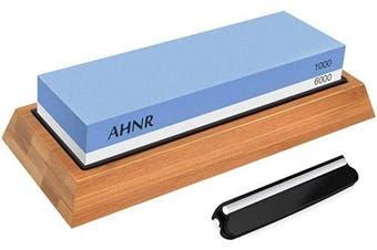 (Blue) - Knife Sharpening Stone Set - 2 Side Grit 1000/6000 Water Stone, AHNR Whetstone Sharpener Stone Set Includes NonSlip Bamboo Base & Angle Guide