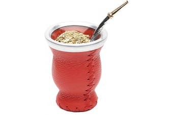 (Red) - Balibetov [New] Leather & Glass Yerba Mate Gourd Set (Mate Cup) with Yerba Mate Bombilla (Straw) (Red)