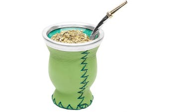 (Green) - Balibetov [New] Leather & Glass Yerba Mate Gourd Set (Mate Cup) with Yerba Mate Bombilla (Straw) (Green)