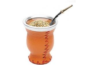 (Orange) - Balibetov [New] Leather & Glass Yerba Mate Gourd Set (Mate Cup) with Yerba Mate Bombilla (Straw) (Orange)