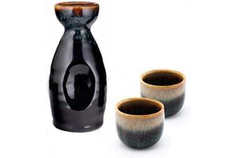 (Brown) - Hinomaru Collection Ichigo Sake Set Tokkuri 150ml Bottle with Two Sake Ochoko Cups 60ml Reactive Glaze Ceramic (Brown)