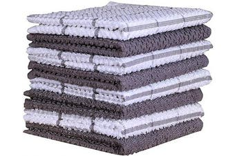 (30cm  x 30cm , Light Grey) - Amour Infini Terry Dish Cloth | Set of 8 | 30cm x 30cm | Super Soft and Absorbent |100% Cotton Dish Rags | Perfect for Household and Commercial Uses | Light Grey
