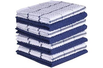 (30cm  x 30cm , Blue) - Amour Infini Terry Dish Cloth | Set of 8 | 30cm x 30cm | Super Soft and Absorbent |100% Cotton Dish Rags | Perfect for Household and Commercial Uses | Blue