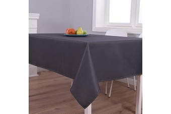 (130cm  x 180cm , Dark Grey) - Biscaynebay Textured Fabric Tablecloths, Water Resistant Spill Proof Tablecloths for Dining, Kitchen, Wedding and Parties, Dark Grey 130cm by 180cm Rectangle