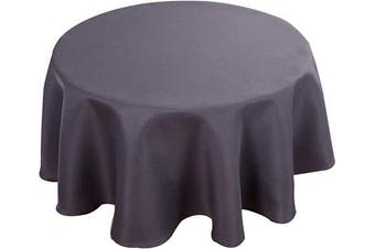 (180cm  R, Dark Grey) - Biscaynebay Textured Fabric Tablecloths, Water Resistant Spill Proof Tablecloths for Dining, Kitchen, Wedding and Parties, Dark Grey 180cm Round