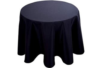 (150cm  R, Black) - Biscaynebay Fabric Tablecloths, Water Resistant Spill Proof Tablecloths for Dining, Kitchen, Wedding and Parties, Black 150cm Round