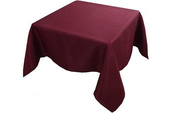 (140cm  x 140cm , Burgundy) - Biscaynebay Textured Fabric Tablecloths, Water Resistant Spill Proof Tablecloths for Dining, Kitchen, Wedding and Parties, Burgundy 140cm by 140cm Square