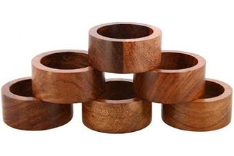 (Set of 6) - Nirvana Class Handmade Wood Napkin Ring Set with 6 Napkin Rings - Artisan Crafted in India