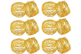(12, Gold) - SKAVIJ Metal Mesh Napkin Rings Set for Dining Table Decoration (Dia-5.1cm , Pack of 12, Gold)